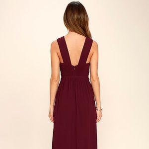 Lulu's Dazzling Decadence Burgundy Maxi Dress XS